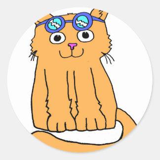 Schutzbrillen-Katze Runder Aufkleber