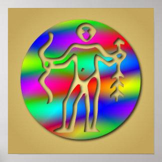 Schütze-Regenbogen-Bogenschütze-Tierkreis-Stern-Ze Poster