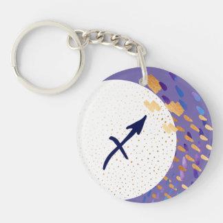 Schütze-Tierkreis-abstrakter lila Mond Keychain Schlüsselanhänger