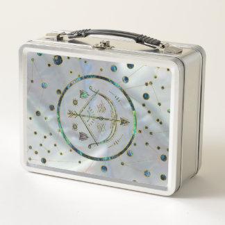 Schütze-Tierkreis-Goldohrschnecke auf Metall Lunch Box