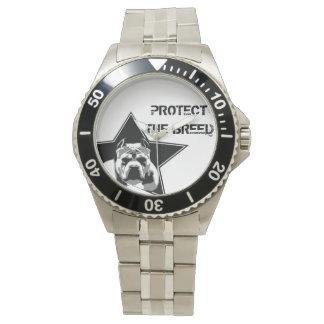 Schützen Sie die Zucht-Pitbull-Uhr - Edelstahl Armbanduhr