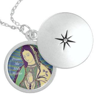 schützen Sie mich heilige Mutter Sterling Silberkette