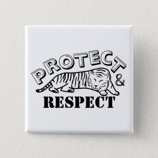 Schützen Sie sich und respektieren Sie Quadratischer Button 5,1 Cm