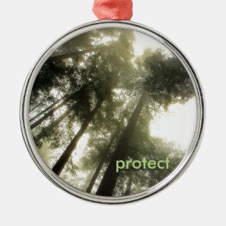 Schützen Sie unsere Wälder Silbernes Ornament