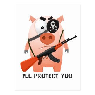 Schützendes Schwein Postkarte