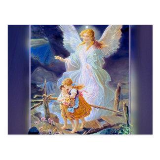 Schutzengel, Kinder und Brücke Postkarte