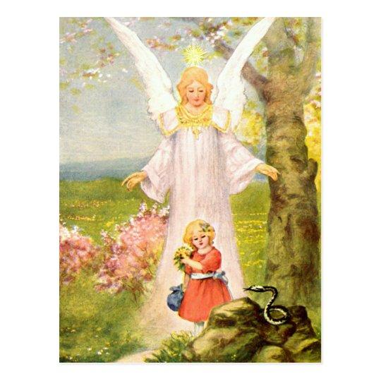 Schutzengel Mädchen und Schlange Postkarte
