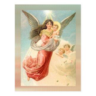 Schutzengel mit Kindern Postkarte