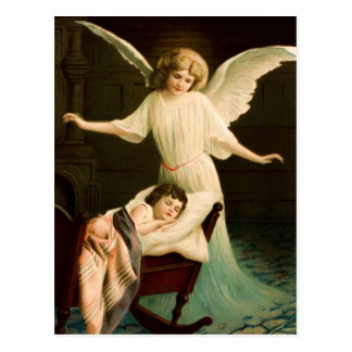 Schutzengel und schlafende Kind Postkarte