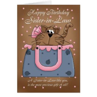Schwägerin-Geburtstags-Karte - niedliches Grußkarte