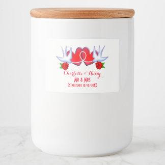 Schwalben-Liebe-Herz-Rote Rosen personalisiert Lebensmitteletikett