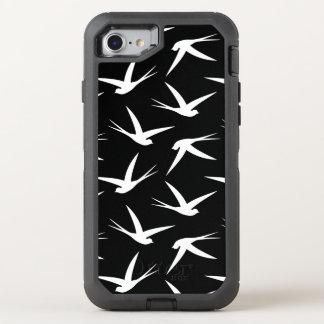 Schwalben-Muster-elegantes Schwarzweiss OtterBox Defender iPhone 8/7 Hülle