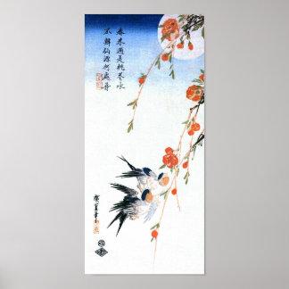 Schwalben u. Pfirsich-Blüten, Hiroshige japanische Poster