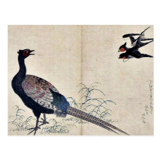 Schwalben und Fasan durch Kitagawa, Utamaro Ukiyoe Postkarte