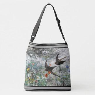 Schwalben-Vogel-Wildblume-Blumen-Taschen-Tasche Tragetaschen Mit Langen Trägern