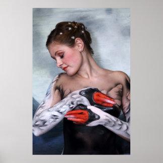 Schwan swan leda bodypainting poster print druck