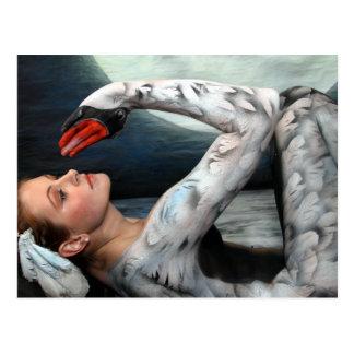 Schwan swan leda postcard postkarte bodypainting b