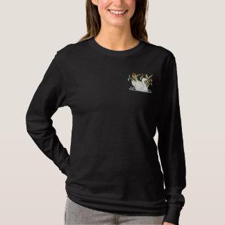 Schwan und Cattails Besticktes Langarmshirt