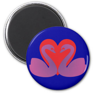 Schwäne Herz swans heart Runder Magnet 5,7 Cm