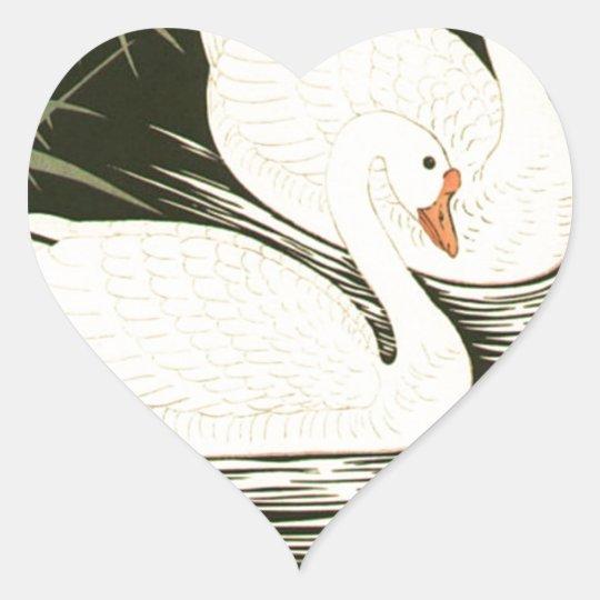 Schwäne und Schilfe Herz-Aufkleber