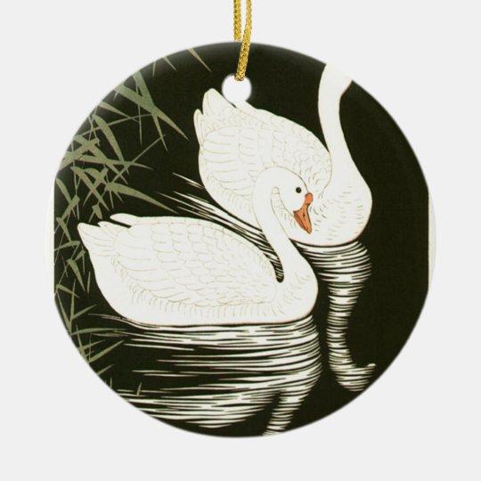 Schwäne und Schilfe Rundes Keramik Ornament
