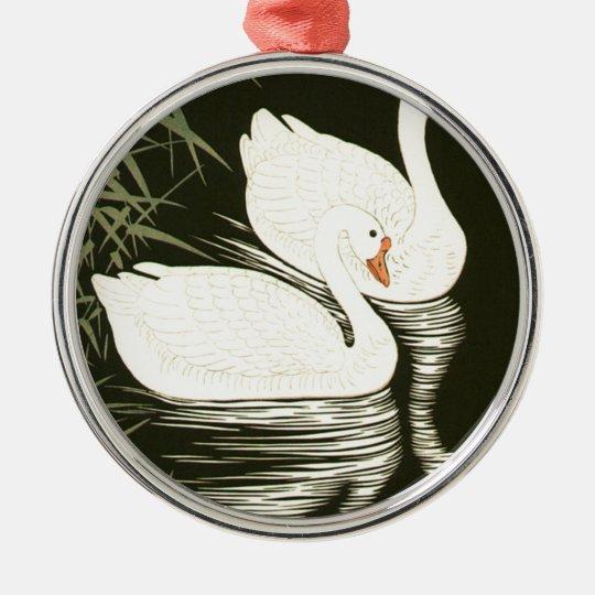 Schwäne und Schilfe Silbernes Ornament