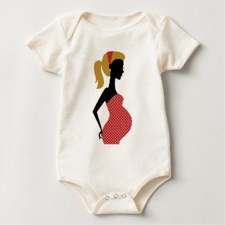 Schwangere Dame im Rot mit Volkspunkten Baby Strampler