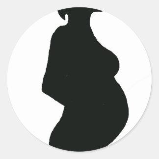 Schwangere Frau Silouhette Runder Aufkleber