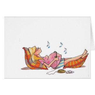 Schwangere Frauen-Musik Notecard Karte