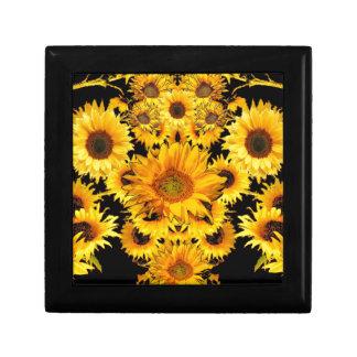Schwarz-goldene Sonnenblume-Mustergeschenke Schmuckschachtel