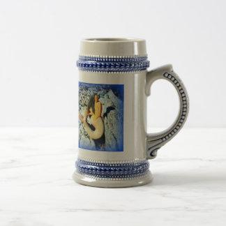 schwarz-haariges Meerjungfraublau Bierglas