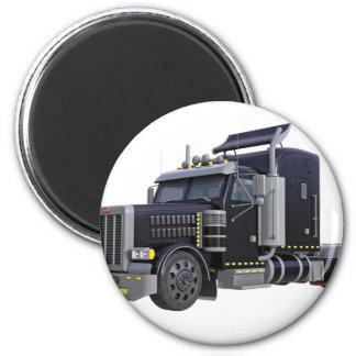 Schwarz-halb LKW mit Lichtern an in einem drei Runder Magnet 5,7 Cm