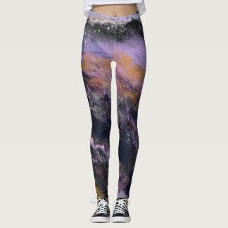 Schwarz-, Lavendel-u. Pfirsich-Gamaschen - Leggings