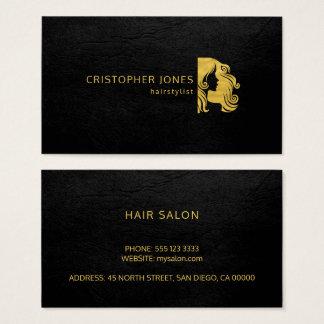 Schwarz-Lederluxusblick des Hairstylist einfacher Visitenkarte