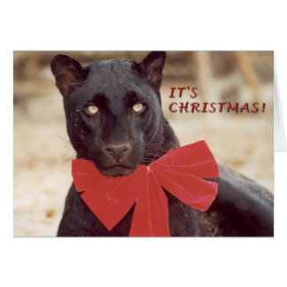 Schwarz-Leopard-Feiertagsbogen Grußkarte