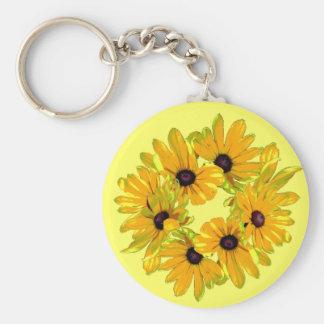 Schwarz-mit Augen Susan-Garten-Blumen Schlüsselanhänger