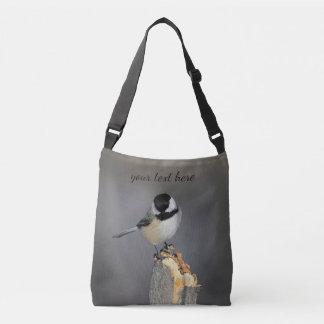 Schwarz-mit einer Kappe bedeckter Chickadee Tragetaschen Mit Langen Trägern