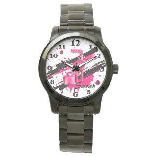 Schwarz-, rosa u. weißerheißer hoher Heels Uhr