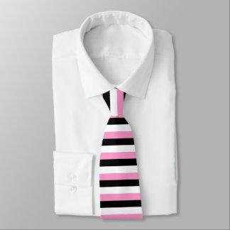 Schwarz, rosa und Weiß stripes Krawatte
