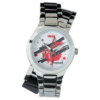 Schwarz-, Roter u. weißerheißer hoher Heels Armbanduhr