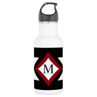 Schwarz-, Rotes u. weißesstilvolles rautenförmiges Edelstahlflasche