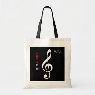 Schwarz-Tasche der musikalischen Anmerkung mit Tragetasche