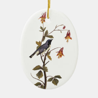 Schwarz-Throated blauer Trällerer Audubon Vogel Keramik Ornament