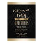 Schwarz-u. Golddamast-Ruhestands-Party Einladungen