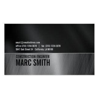Schwarz u Grau auf metallischem Papier Visitenkartenvorlagen