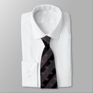 Schwarz-u. Holzkohlen-Grau-Streifen rotes U.J. Krawatte