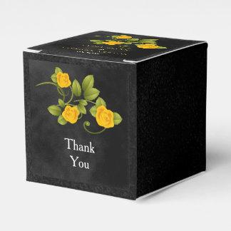 Schwarz-u. Ringelblumen-gelber Geschenkschachtel