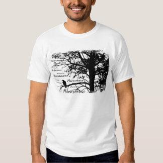 Schwarz u. Weiß Raven Nevermore Silhouette-Baum Hemden
