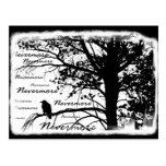 Schwarz u. Weiß Raven Nevermore Silhouette-Baum Postkarten