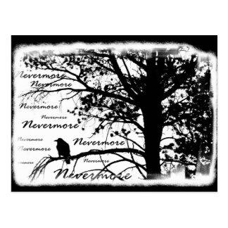Schwarz u. Weiß Raven Nevermore Silhouette-Baum Postkarte